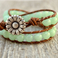 Aqua wrap bracelet. Chunky beaded jade leather wrap. Rustic double wrap bracelet