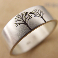 Wedding Band or Engagement Ring with Bird in a Tree Free Shipping