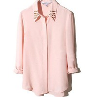 Nude Long Sleeves Chiffon Blouse with Rivets to Collar