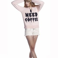 Wildfox Couture I Need Coffee Baggy Beach Jumper in Barefoot