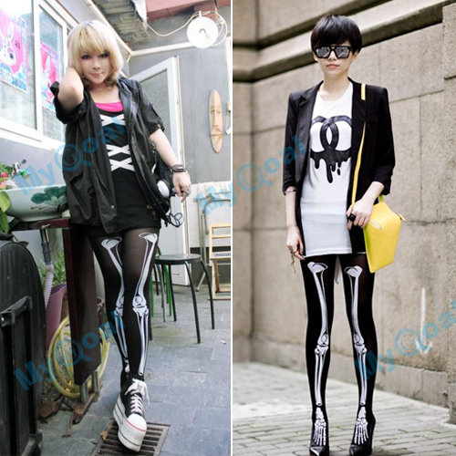 Women Halloween Skeleton Bone Skull Tights Pantyhose Leggings Stocking Punk New