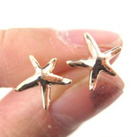 Small Starfish Star Shaped Stud Earrings in Light Bronze by Dotoly