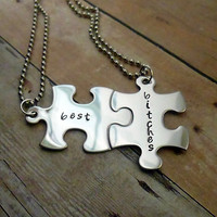 Best Bitches Best Friends Hand Stamped Puzzle Piece Necklace Set