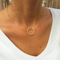 Gold circle necklace - Simple gold jewelry - Gold eternity necklace - Ring necklace - Dainty - Mothers gift - Delicate necklace