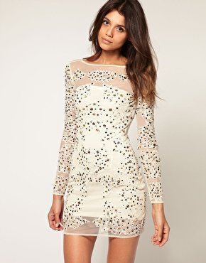ASOS | ASOS Jewelled Applique Lace &amp; Mesh Dress at ASOS