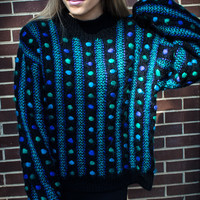 Customizable Black Blue Dot Stripe Studded Oversized Sweater
