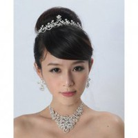 Elegant Feel Rhinestone Embellished Three-Piece Jewelry For Brides(Imperial Crown, Necklace, Earrings)