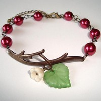 Burgundy Pearls and Flower Branch Antique Bracelet
