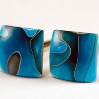 Handcrafted Cufflinks - Persian Blue - Acrylic