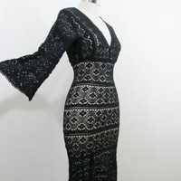1970s Crochet Dress Sheer Black Boho Beauty with by 4birdsvintage
