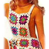 Vintage Crochet Granny Square Shortalls Pattern | Los Angeles Needlework