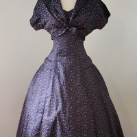 50s taffeta dress / purple sharkskin by thewitcheryvintage on Etsy