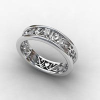 Diamond ring, white gold, wedding band,  diamond wedding, filigree ring, unique, vintage style, filigree wedding