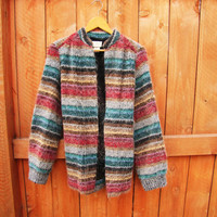 vintage Koret striped mohair boyfriend cardigan. union made. made in the USA. size M to L