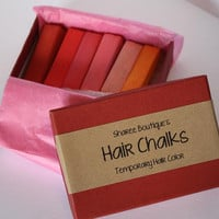 Warm Colored Hair Chalks - 6 Pack - Temporary Color Pastels, Shades of Red, Pink & Orange