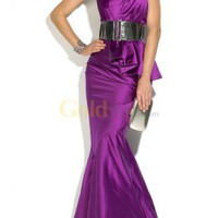 Purple Duchess Satin One-Shoulder Full-Length Mermaid Trumpet Evening Gown - US$200.99 - Goldwo.com