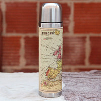 map of europe steel thermos bottle by Wild & Wolf - $26.99 : ShopRuche.com, Vintage Inspired Clothing, Affordable Clothes, Eco friendly Fashion