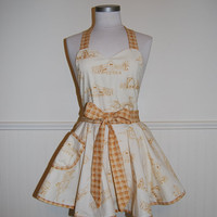 Cream Farmhouse and Gold Plaid Circle Skirt Apron with Sweetheart Neckline and Pocket
