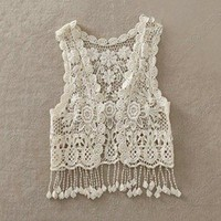 Korean All-match Pierced Lace Tassels Shawl Vest