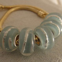 Foil Blue Murano glass Bead For Bracelet