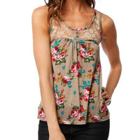 Papaya Clothing Online :: LACE YOKE FLORAL TOP