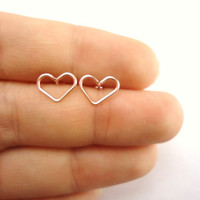 Pink Hearts Stud Earrings, Rose Gold