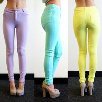 PASTEL LILAC MINT NEON LIME CANDY SKINNY JEANS LOOK LEGGINGS PANTS 6 8 10 12