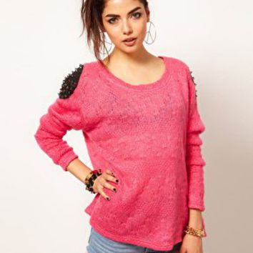 Reverse Studded Shoulder Knit Jumper at asos.com