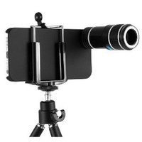 12x Telephoto Manual Focus Telescopic Camera Lens For The Apple iPhone 5 with Tripod - Black (Includes Universal Holder, Mini Tripod, Cleaning Cloth, Black Bag and iPhone 5 Protection Case)