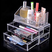 Clear Acrylic Cosmetic Organizer Makeup case+DRAWERS Storage Cub#2 Birthday Gift