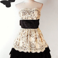 Betsey Johnson Cotton Tape Woven Lace Tiered Dress