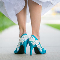 Blue heels - Wedding Shoes, Blue Wedding Heels with Ivory Lace Applique. US Size 8