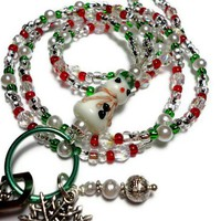 Snowman Christmas Lanyard Id Badge Holder Beaded Breakaway Handmade