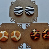 2 for 10 - Animal Print Earrings - Hypoallergenic Post - Sensitive Ears - Set of Two