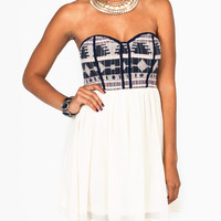embroidered-bust-dress NAVYCREAM - GoJane.com