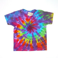 Tie Dye Shirt/ Child Small/ Rainbow Spiral with Purple