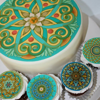 Edible - Oriental Mandalas -  Cake top- Cupcake toppers - HD Tasty Prints - edible decorations for cakes, cupcakes and cookies
