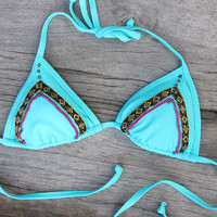 Bikini, hand decorated with indian ribbons and beads, gypsy, boho,
