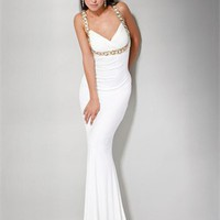 strap Column crossing back white Long with Sequins Prom Dress PD1008