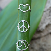 Love Peace and the Sea Rings by OceanLoveJewelry on Etsy