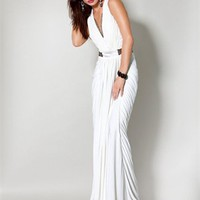 v-neck Column white Long with beads Prom Dress PD1016
