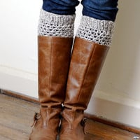 Crochet Boot Cuffs - Natural Wool - 6 Neutral colors