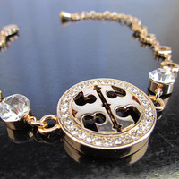 Tory Burch inspired double T bracelet - Gold Plated - Nickel Free