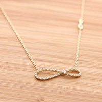 unbalanced INFINITY necklace with crystals, 2 color | girlsluv.it