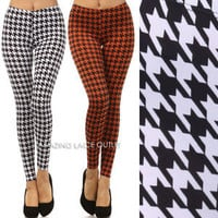 Houndstooth Leggings Pants Tight Stretch Plaid Punk Trousers Celeb Fashion Trend