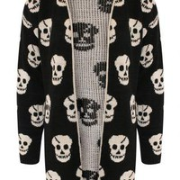 Multi Skulls Print Knitted Open Cardigan - by Pilot