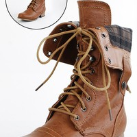 Jetta25 Combat Back Zip Mid Calf Boots WHISKY - Ankle Boots - Boots - Shop