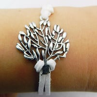 Adjustable bracelet - antique silver Christmas tree white wax rope bracelet