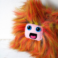 Furry monster orange red purple plush doll lion toy
