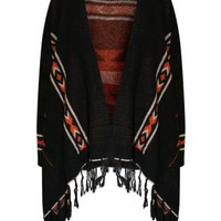 Fringe Aztec Print Waterfall Open Cardigan - by Pilot
